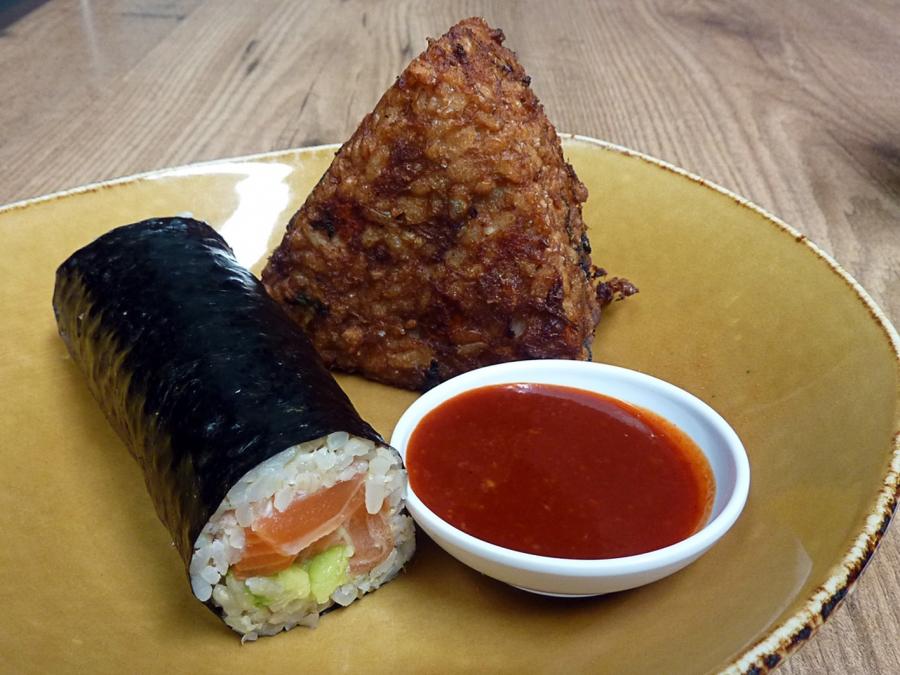 Tuna Onigiri and Brown Rice Salmon Avocado Sushi