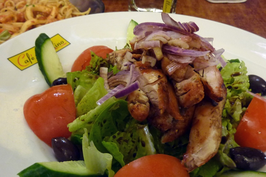 Chicken Salad - Grilled Chicken, Lettuce, Tomato, Olives, Cucumber, Red Onions, Balsamic Vinegar and EVOO $19