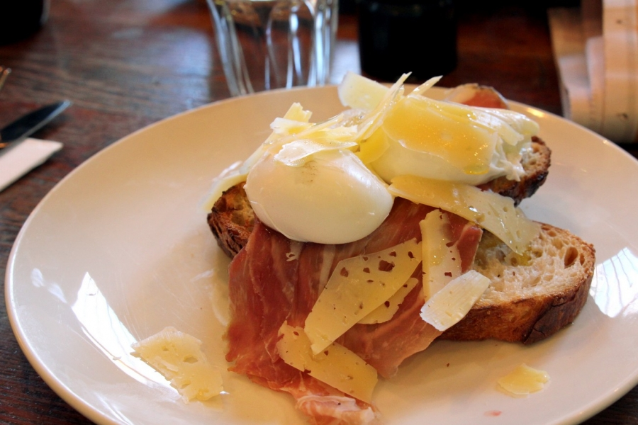 Truffled Eggs - poached eggs on toast with prosciutto, shaved pecorino and white truffle oil ($16)