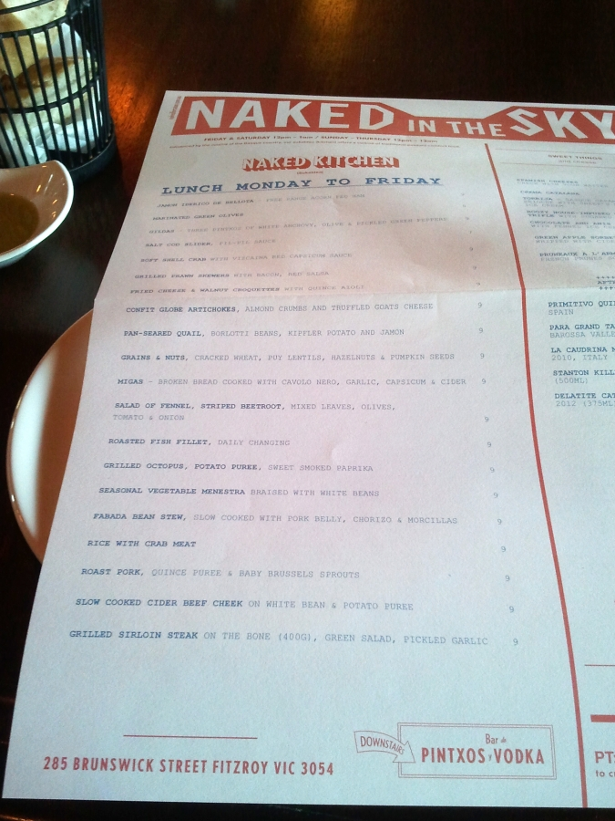 Naked in the Sky Lunch Menu