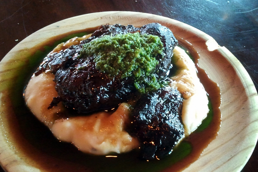 Slow Cooked Cider Beef Cheek on White Bean and Potato Puree
