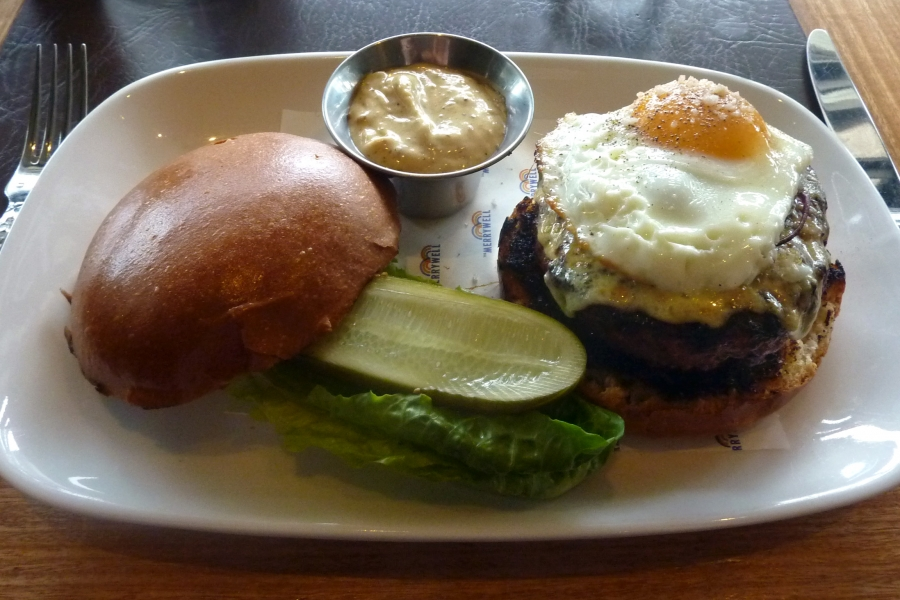 Double Beef Burger - Angus Patty, Beef Short Rib, Foie Gras Butter, Egg, Caramelised Onion and Cheddar