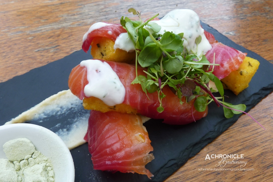 Beetroot-Cured Salmon With Polenta Chips, Truffled Cauliflower Purée, Herb Yoghurt And Wasabi Salt