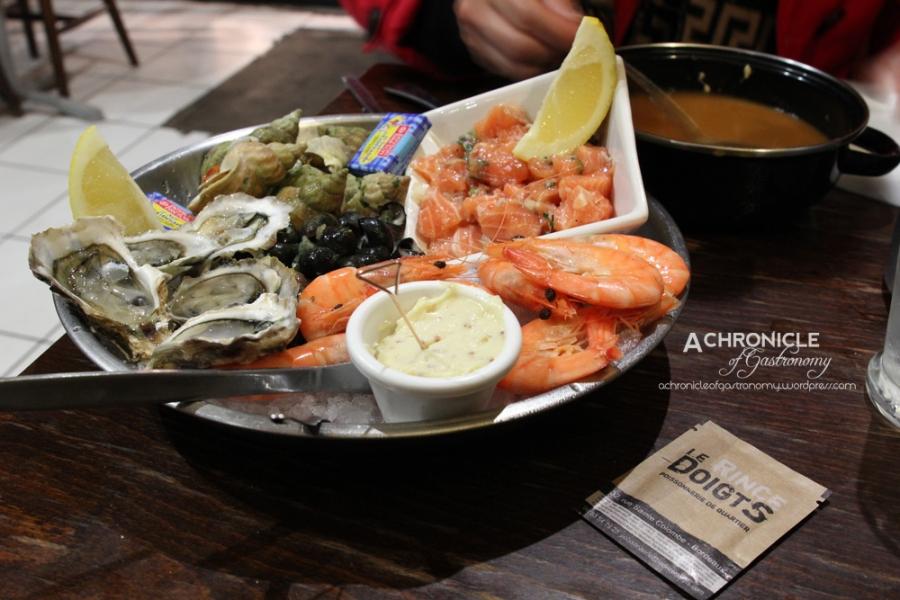 Salmon Tartare, Oysters; Prawns, Bulots, Bigorneaux