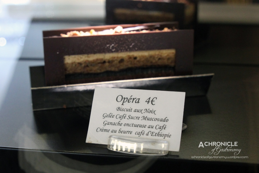 Opéra – Walnut biscuit, coffee jelly, Muscovado and coffee gel, coffee ganache, butter cream