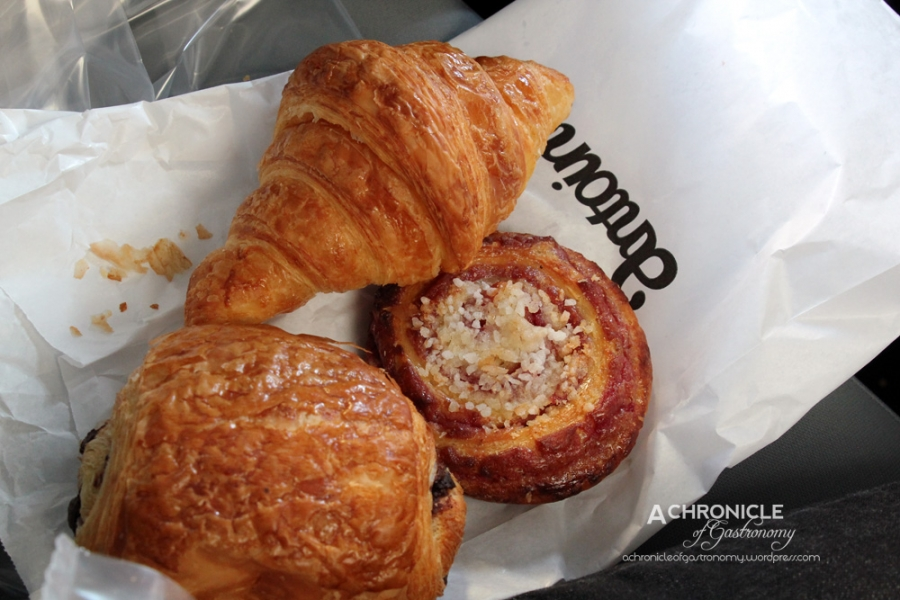 Croissant, Pain Aux Chocolat, Raspberry Jam Scroll