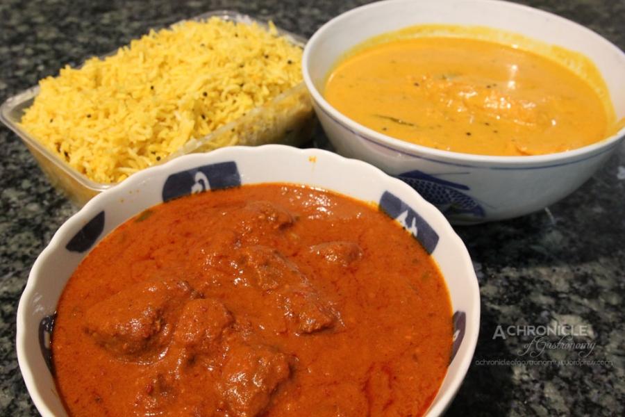 Beef Vindaloo ($12), Fish Madras ($16), Large Lemon Rice ($5.5)