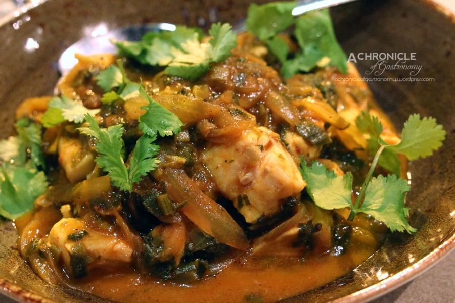 Khoresht Ghalieh Mahi - South Iranian Fish Stew, Tumeric, Chilli, Tamarind, Coriander ($23.50)