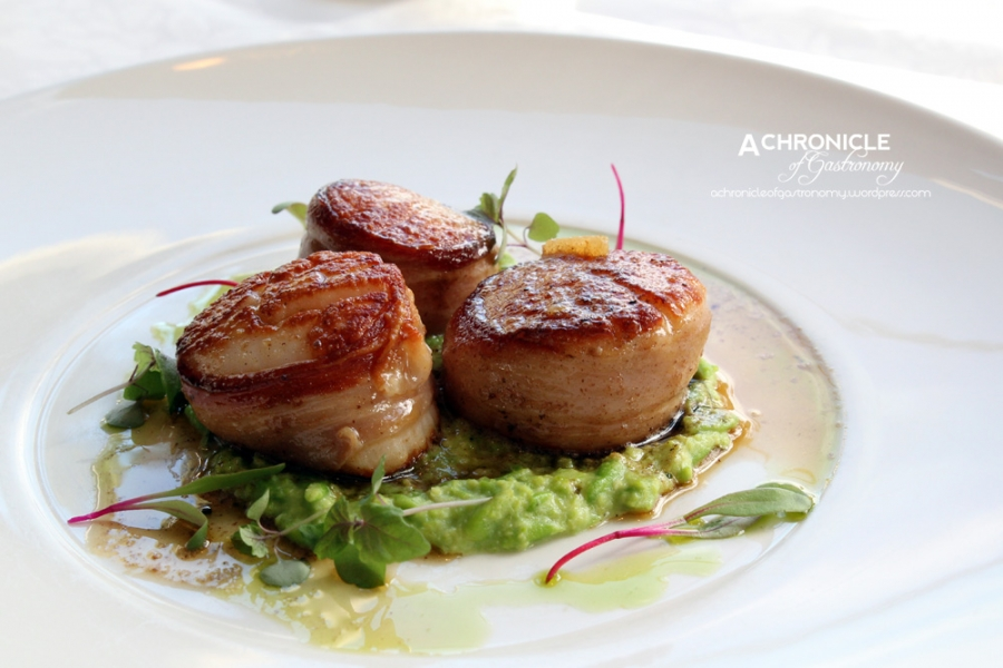 Prosciutto-Wrapped Scallops, Mushy Peas and Lemon Butter