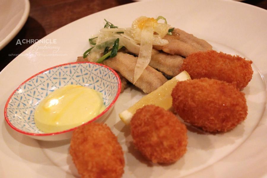 Sardine Escabeche - Fried, Pickled Sardines w. Paprika, Cinnamon, Orange, Lemon; Croquetas de Gambas - Shrimp, Paprika, Parsley Croquettes, Saffron Aioli