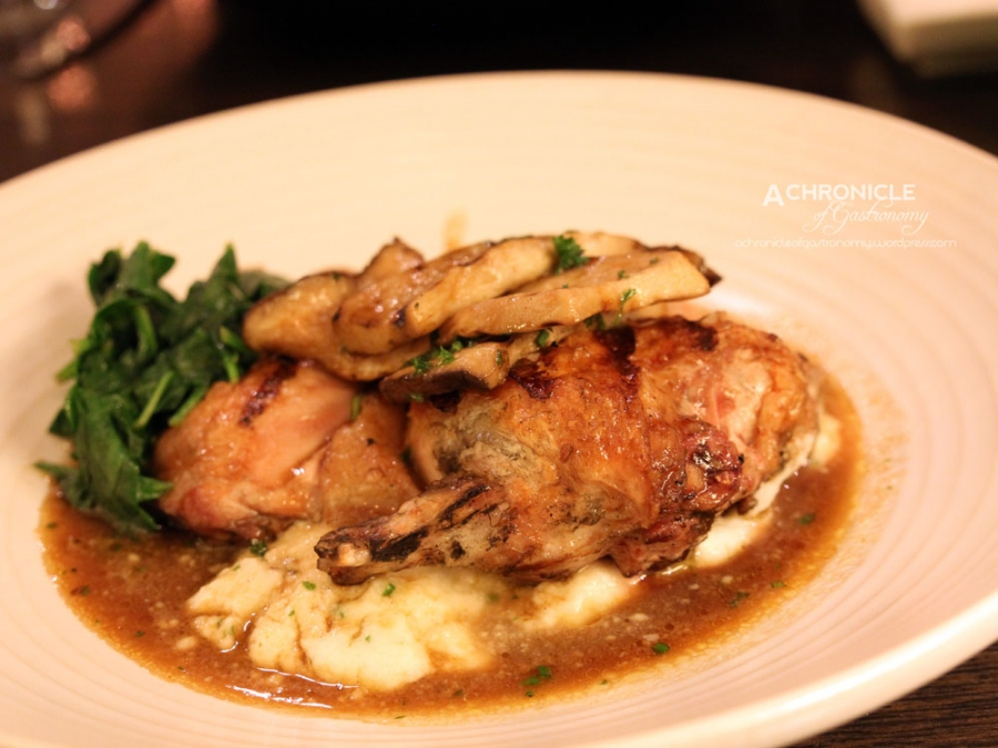 Chargrilled Spatchcock, Truffled Soft Polenta, King Oyster Mushrooms & Jus Gras ($39