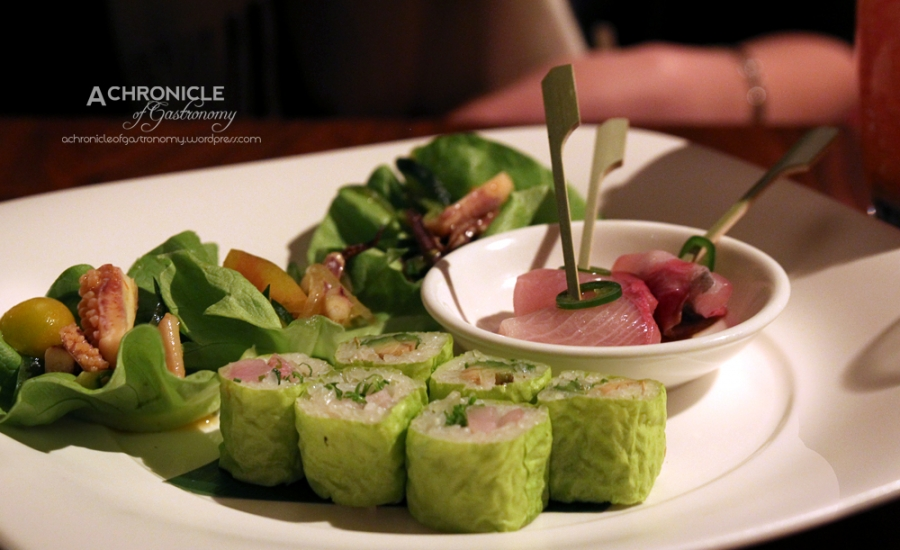 White Fish Maki, Kingfish Sashimi, Sweet and Sour Squid and Vegetables