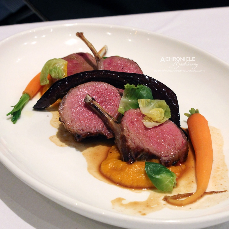 Lamb Cutlets w. Carrot Puree and Baby Eggplant ($38)