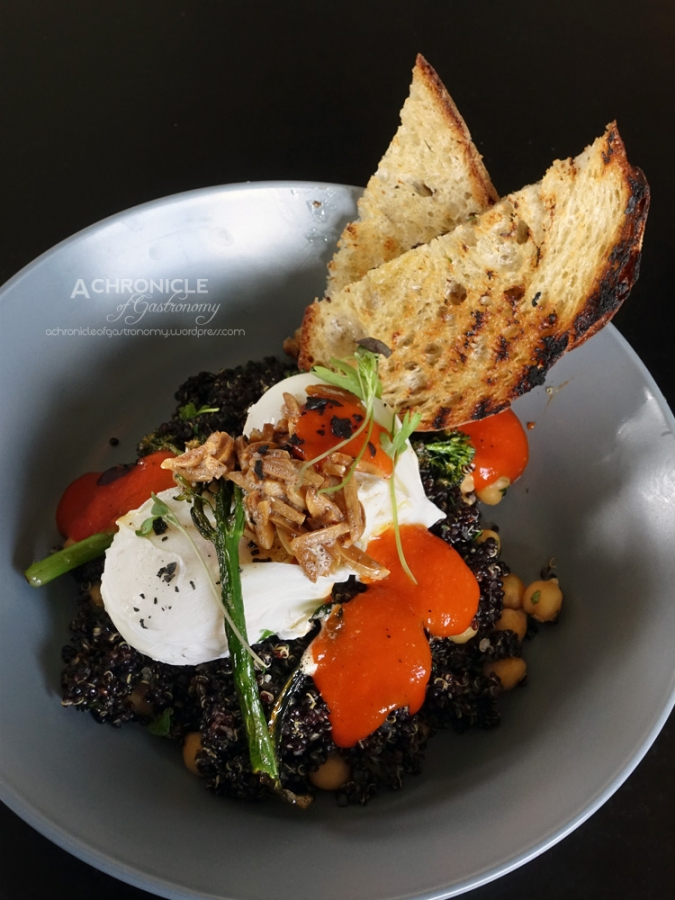 Braised Quinoa & Chickpeas Cooked in Mushroom Stock w. Broccolini, Poached Eggs, Toasted Almonds,  Mojo Sauce, Toasted Sourdough ($18)