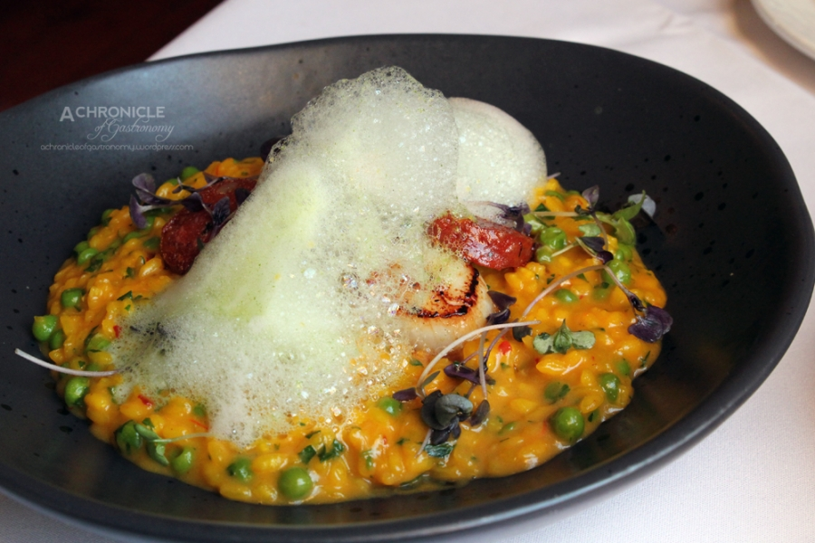 Baked + Marinated Jumbo Scallops, Chorizo Risotto With Chilli, Saffron + Peas, Basil Foam