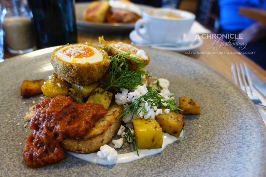 Spiced Tiffin Egg - Bombay Hash, Kasundi, Cashew Crumb, Pickled Cauliflower ($18)