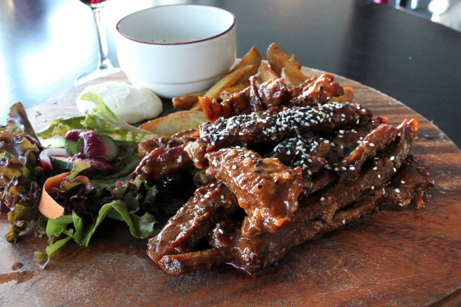 Sticky Spare Ribs With Wedges, Sour Cream And Salad ($27)