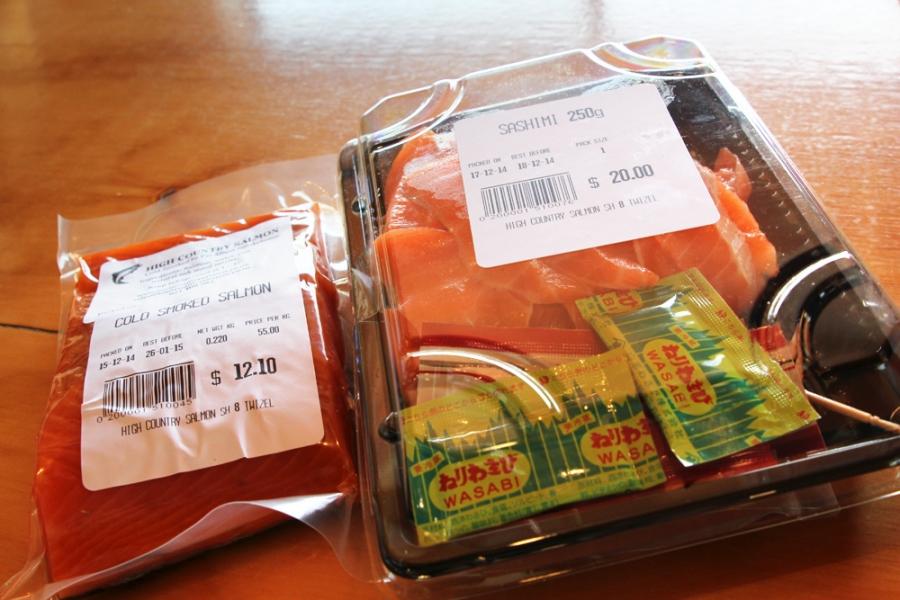 Cold Smoked Salmon ($12.10, $55kg), Sashimi (250g, $20)