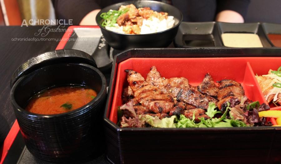 BBQ Lunch Special Set - Tri-tip ($21) Red Miso Soup, Potato Salad, Tori Karaage, Yaki Buda Gohan (Grilled Kurobuta w. Teriyaki Sauce on Rice), Sweet Soy, Sesame, Spicy Miso Sauce