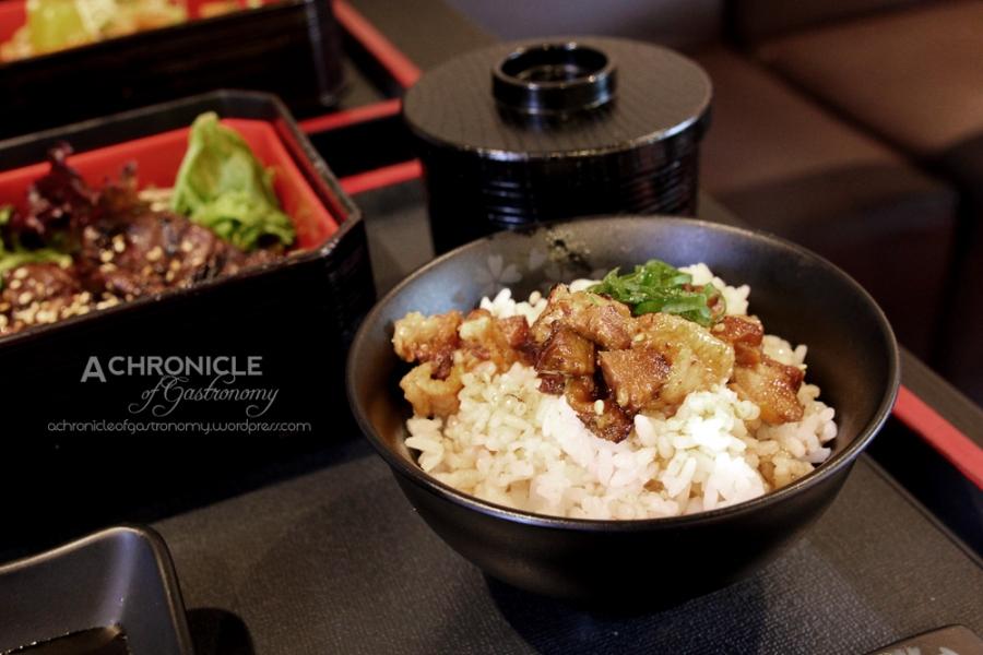 BBQ Lunch Special Set - Harami ($21) Red Miso Soup, Potato Salad, Tori Karaage, Yaki Buda Gohan (Grilled Kurobuta w. Teriyaki Sauce on Rice), Sweet Soy, Sesame, Spicy Miso Sauce