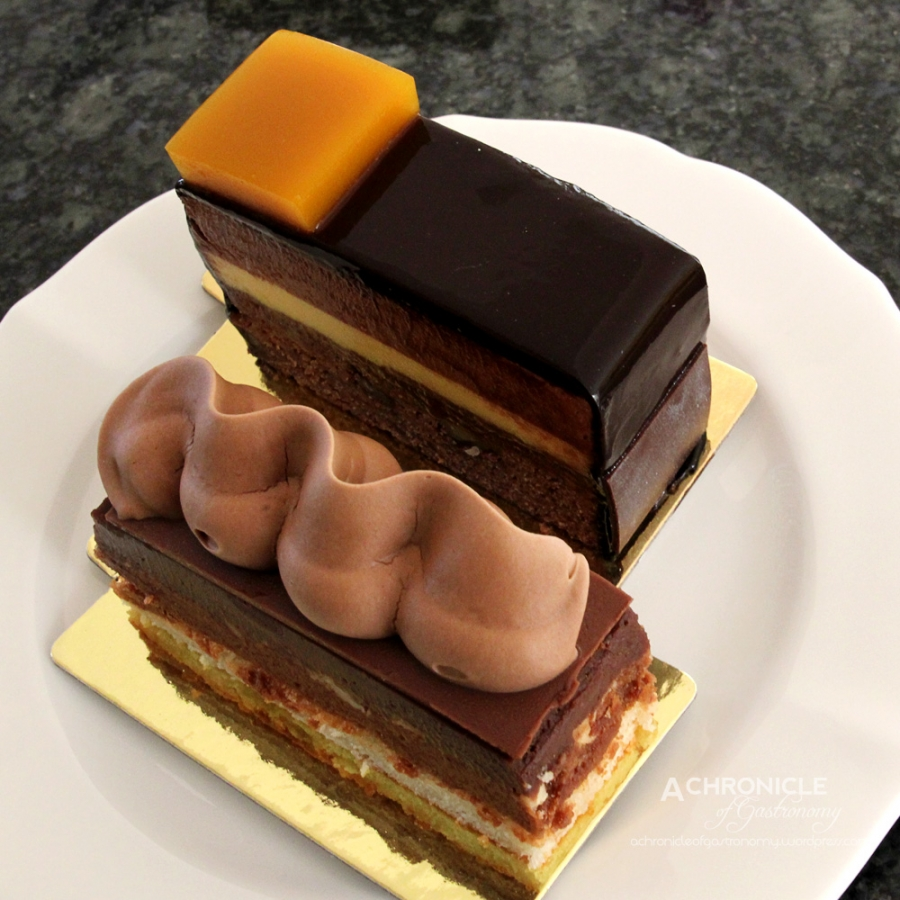 Hazelnut Millefeuille & Brownie and Passionfruit Chocolate Gâteau