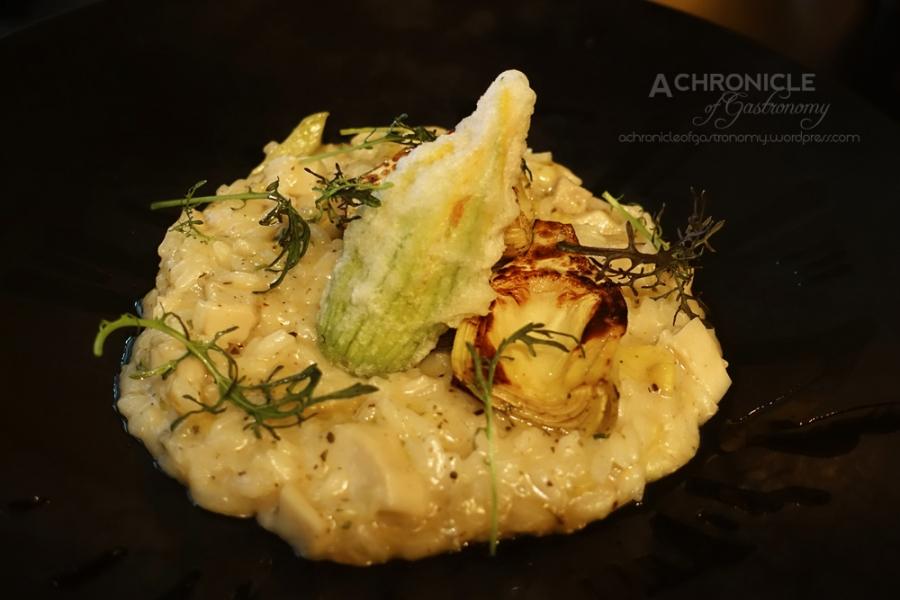 Porcini, Artichoke and Truffle Oil Risotto w. Buffalo Mozzarella Zucchini Flower ($30)