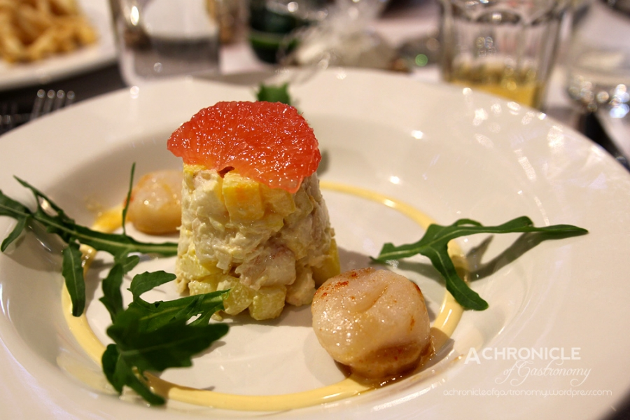Clearwater Scallop, Poached Balmain Bug, Micro Leaf Salad w. Shallot and Ruby Grapefruit Dressing