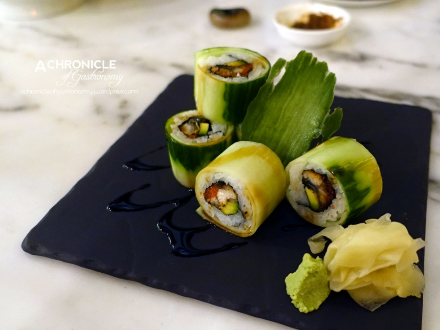Unagi Avocado Maki - Inside-Out Sushi Roll With Eel And Avocado, Enveloped In A Sheet Of Cucumber $17