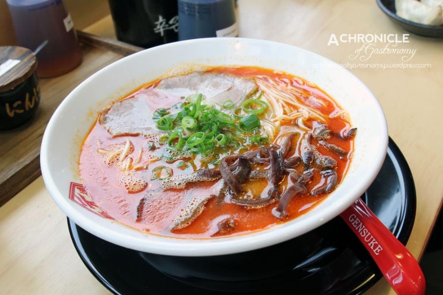 Akatonkotsu Ramen - Spicy Cod Roe Paste in Tonkotsu Broth w. Chashu, Black Fungus, Spring Onions ($14)