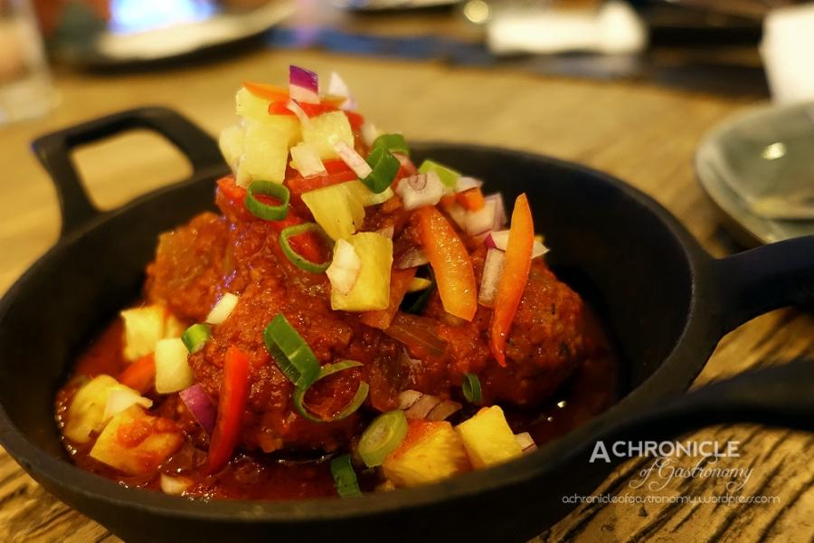 Albondigas - Beef and Lamb Meatballs, Sofrito, Pineapple Salsa $14