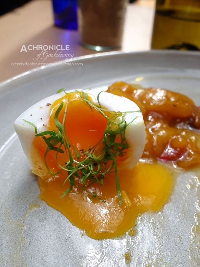 The Vertue of the Coffee Drink (48) Smoked Ocean Trout - Curried Arancini, Soft Duck Egg, Mango and Chilli Jam ($21)
