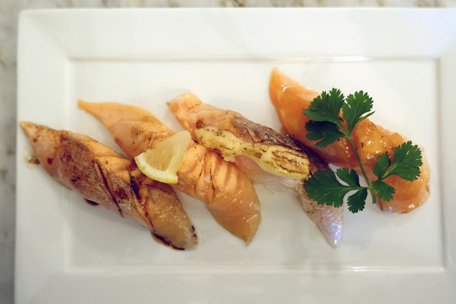 Wa Modern (16) Salmon Aburi Sushi - Teriyaki Balsamic, Salt and Lemon, Mayonnaise, Sweet Miso $15