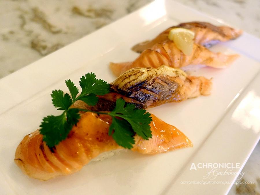 Wa Modern (24) Salmon Aburi Sushi - Teriyaki Balsamic, Salt and Lemon, Mayonnaise, Sweet Miso $15
