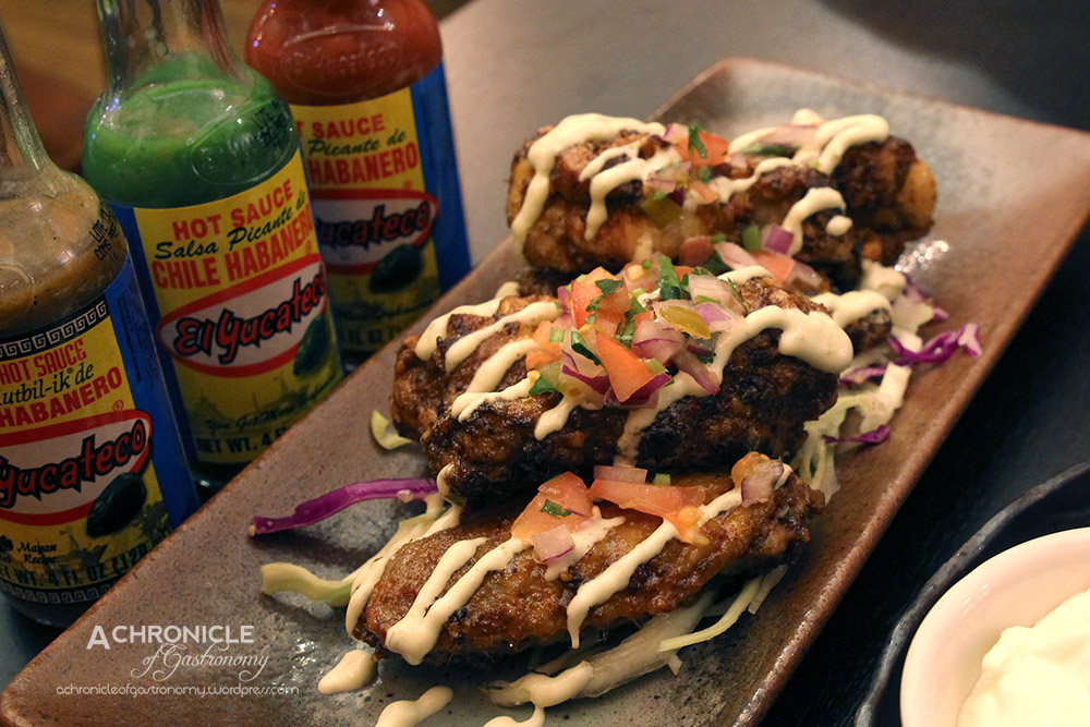 Alitas – BBQ Chicken Wings Marinated With Spices, Served w. Jalapeno Mayonnaise (6 For $10, 12 For $15)