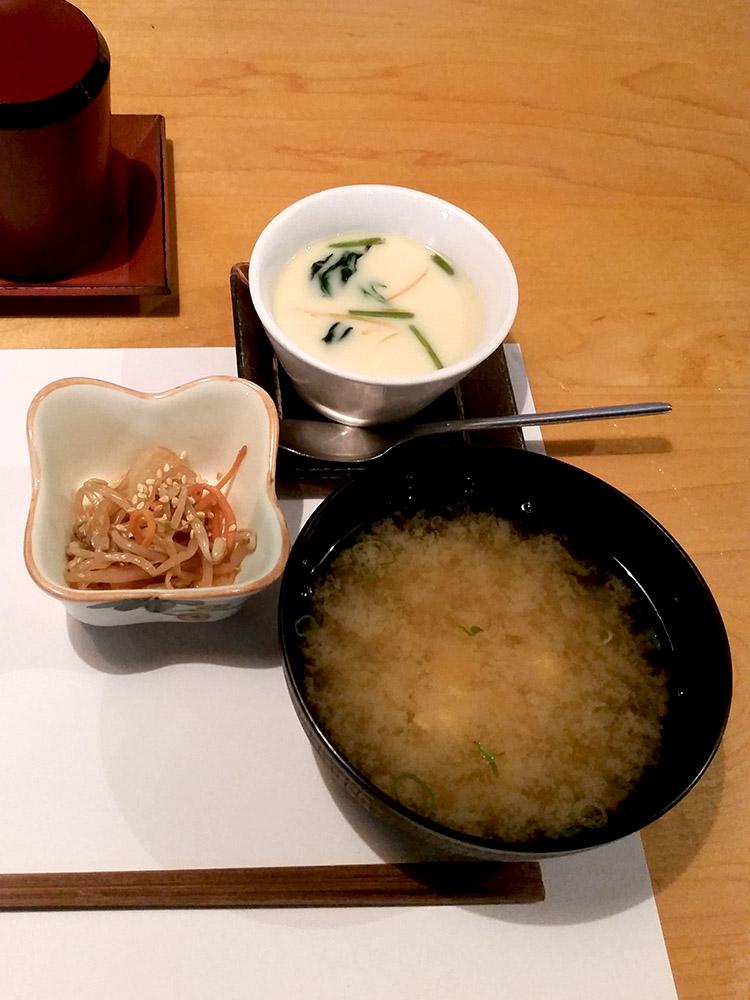 Kuni's (4) Sushi Set $28 - Miso Soup, Chicken and Mushroom Chawanmushi, Pickled Bean Sproutsedit