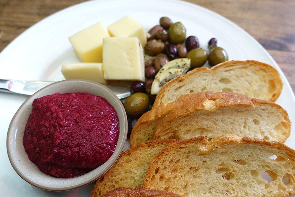 Frivolities - Beetroot Dip, Italian Cheese, Olives, Toasted Ciabatta $14