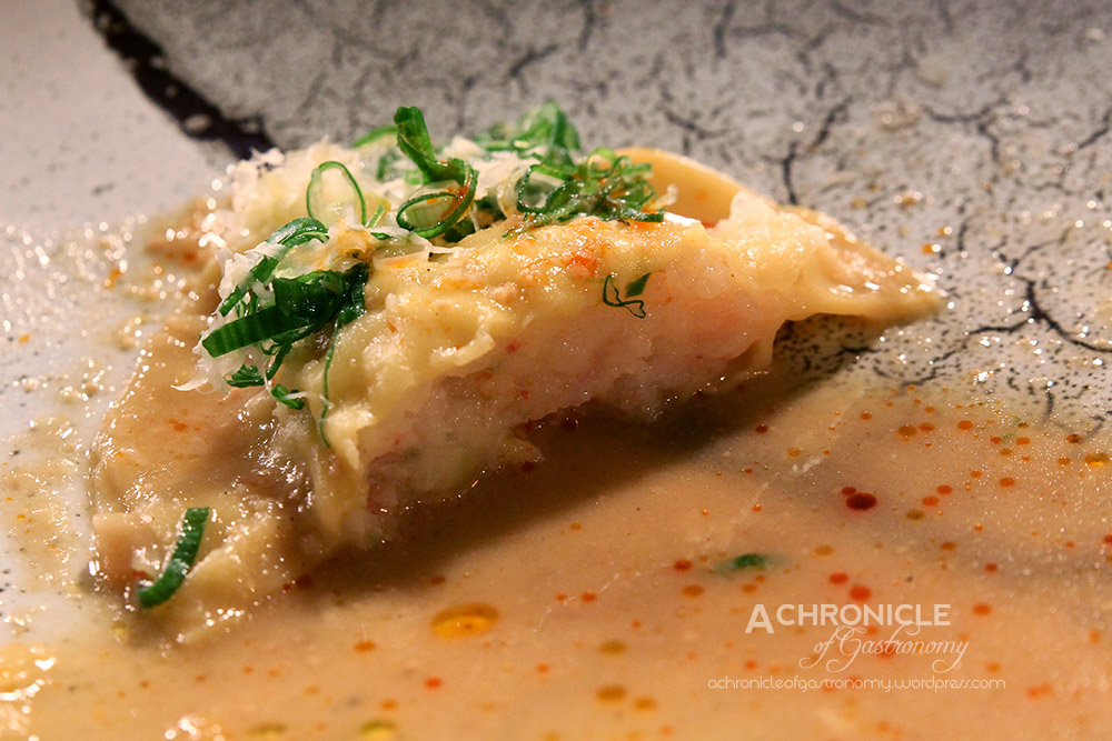 Scallop And Prawn Ravioli With Soybean Paste Clam Sauce ($18)
