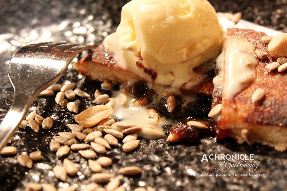 Hotteok (Korean Sweet Pancake With Caramelized Peanut Honey Syrup) With Ginger Ice Cream ($12)