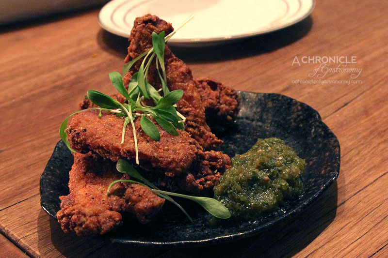 Hercules Morse (19) Crispy Spiced Chicken Ribs w. Tomatillo and Jalapeno Salsa ($9.50)