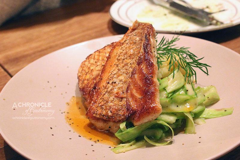 Hercules Morse (26) Crispy-Skin Snapper, Prawn Brandade, Buttered Asparagus + Prawn Essence ($16.50)