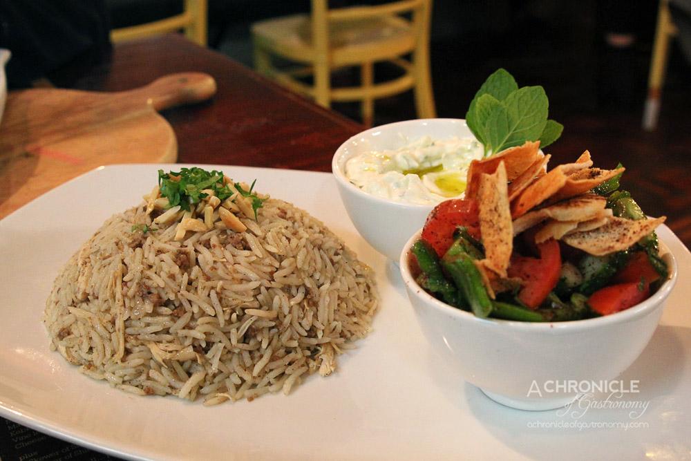 Mama Manoush - Riz a djaj - Rice Pilaff w. Minced Lamb, Chicken Breast, Almonds & Pinenuts