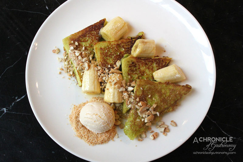 Red Spice QV Pandan French Toast with Cinnamon Caramel Banana, Smashed Cashews & Coconut Ice-Cream ($18)