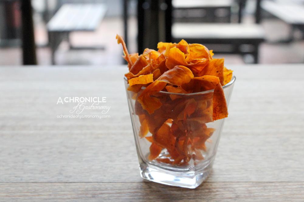 The B-East Baja Crisps - Coriander, Chilli and Lime Spiced Fried Sweet Potato Crisps ($5)