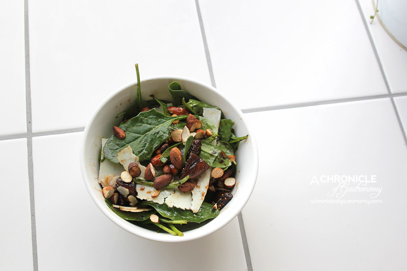 Homeslice - Balsamic Glazed Figs with Baby Spinach, Roasted Almonds and Pecorino ($9.50)