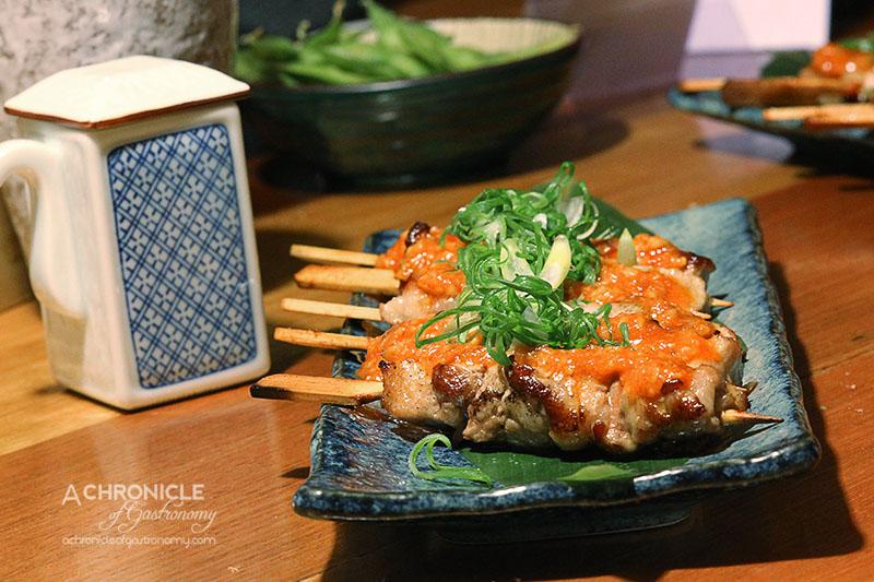 Kumo Izakaya and Sake Bar - Pork Belly Butakushi Skewers with Miso Onion Salsa