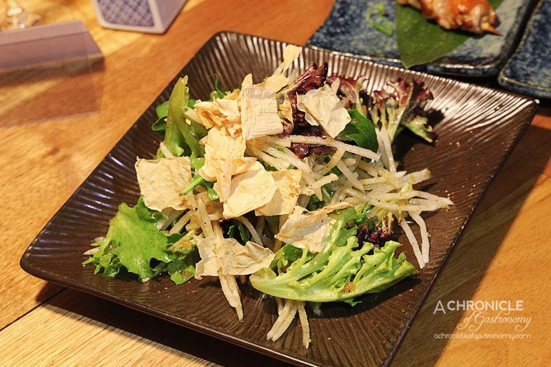 Kumo Izakaya and Sake Bar - Daikon Salad with Fried Yuba and Onion Pepper Dressing