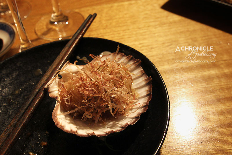 Kumo Izakaya and Sake Bar - Seared Scallops with Butter and Soy topped with Bonito Flakes