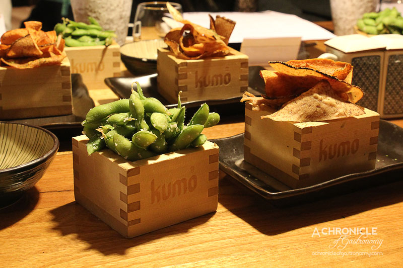 Kumo Izakaya and Sake Bar - Edamame with Murray River Pink Salt, Vegetable Chips with Aonori Salt