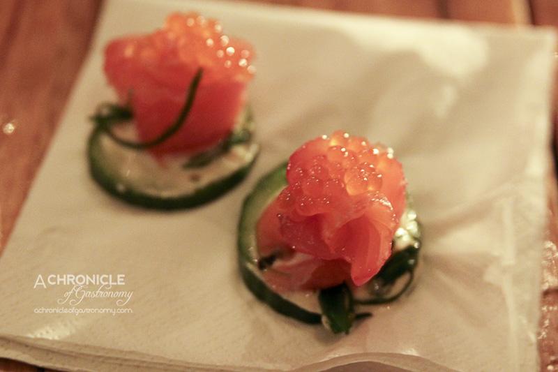 Lounge Kitchen - Yuzu Cured Salmon and Roe on Cucumber Slice