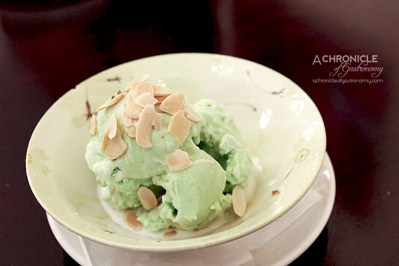 Masak Ku - Pandan Ice Cream Drizzled with Coconut Cream and Palm Sugar, Toasted Almond Flakes ($7.90)